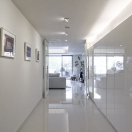ギャラリーから広がる開放的なモダンリビング (玄関)