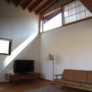 軽井沢の家~木々を一切切らずそのままの敷地を生かし、そこにそっと置いてあげたような住宅~の写真 軽井沢の家 リビング