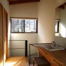 軽井沢の家~木々を一切切らずそのままの敷地を生かし、そこにそっと置いてあげたような住宅~の写真 軽井沢の家 廊下兼洗面脱衣スペース