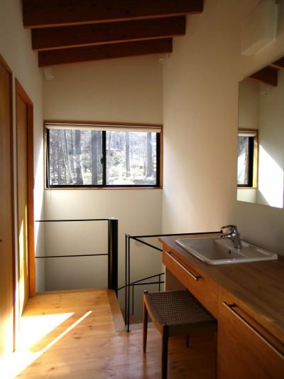 軽井沢の家 廊下兼洗面脱衣スペース (軽井沢の家~木々を一切切らずそのままの敷地を生かし、そこにそっと置いてあげたような住宅~)