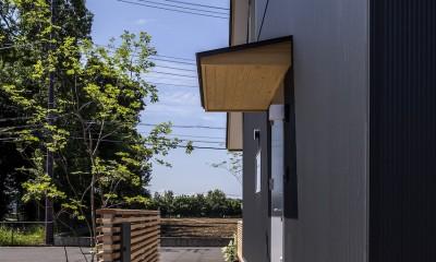 castor/単純な大屋根形状に普遍的な間取りを、立体的断面形状で組み込んでみる。 (外構)
