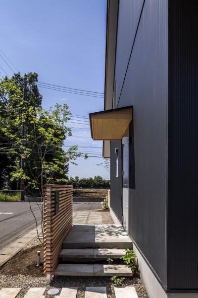 外構 (castor/単純な大屋根形状に普遍的な間取りを、立体的断面形状で組み込んでみる。)