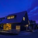 castor/単純な大屋根形状に普遍的な間取りを、立体的断面形状で組み込んでみる。の写真 外観夜景