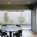 下町のコンクリートCUBE -コンクリート打ち放し-の写真 キッチンから中庭を見る