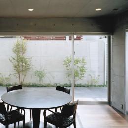 下町のコンクリートCUBE -コンクリート打ち放し- (キッチンから中庭を見る)