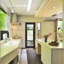木立の中の光あふれるリビングの写真 キッチン