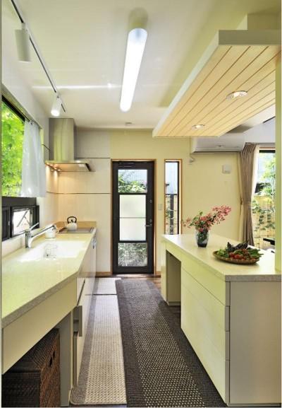 キッチン (木立の中の光あふれるリビング)