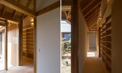 姉ヶ崎の家  中庭を囲うロの字形の平屋 |新築 (中庭に面した明るい回廊)