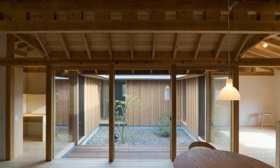 姉ヶ崎の家  中庭を囲うロの字形の平屋 |新築 (中庭に面した居間。)