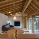 姉ヶ崎の家 大屋根と3つの庭|新築の写真 台所から居間への眺め。