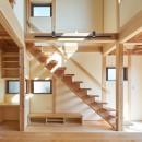 吹抜けのある3室一体の家の写真 リビングのストリップ階段