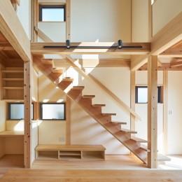 吹抜けのある3室一体の家 (リビングのストリップ階段)