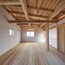 吹抜けのある3室一体の家の写真 二階のフリースペース