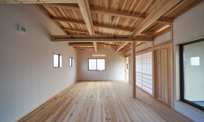 吹抜けのある3室一体の家 (二階のフリースペース)