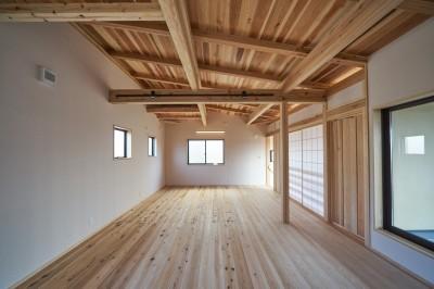 二階のフリースペース (吹抜けのある3室一体の家)