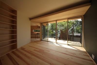 acubens/高台で、基本は平屋だけど、潜望鏡のように2階に上がると富士山が拝めるかたちを考える。 (リビング)