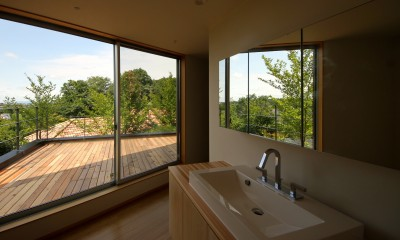 acubens/高台で、基本は平屋だけど、潜望鏡のように2階に上がると富士山が拝めるかたちを考える。 (洗面所)