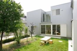 中庭とインナーバルコニーのある贅沢な家A (インナーバルコニーのあるガルバリュウム鋼板の外観)