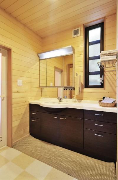 洗面室 (木立の中の光あふれるリビング)