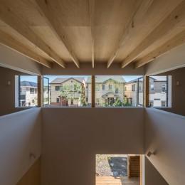 いつでも空が見える吹き抜けと、公園のような庭のある家 (2階の室内窓を開放したところ)