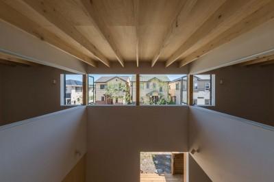 2階の室内窓を開放したところ (いつでも空が見える吹き抜けと、公園のような庭のある家)