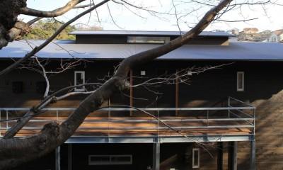 片瀬の家~雛壇敷地に建つ、桜を望める二世帯住宅~ (片瀬の家 外観・3)