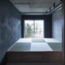 暗い家の写真 坪庭を望む畳スペース