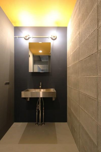 バイカラーが映える洗面室 (飾り付けながら暮らす、ヴィンテージ)