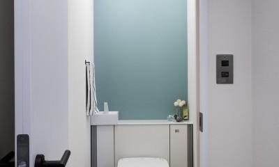ダークカラーとハードな素材×ナチュラルオーク (トイレ)