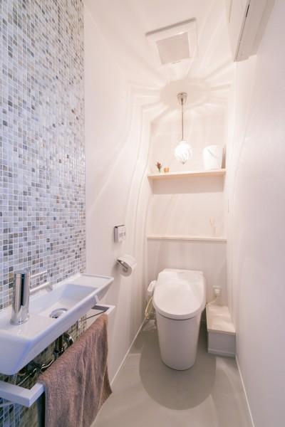 トイレ (line~明快なゾーニングとモノトーンのカラーリング。際立つ「美しい境界線」~)