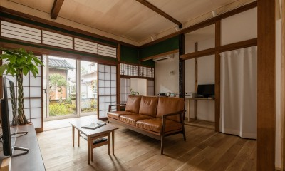 南側の庭から光が注ぐLDK|築48年戸建リノベ|既存を活かした金沢の住まい
