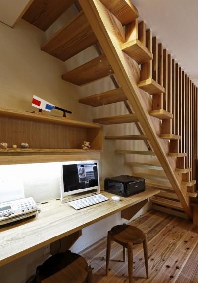 階段下 書斎コーナー (みねひびきみなとなぎさのいえ)