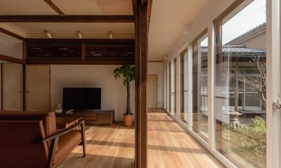 LDK-縁側ー庭の関係性|築48年戸建リノベ|既存を活かした金沢の住まい