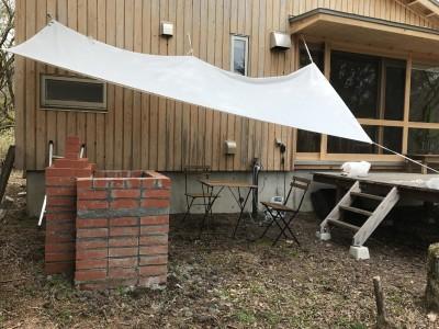 防炎シートのタープ (OUR CABIN OUR DIY~直営、DIYで小屋をつくる~)
