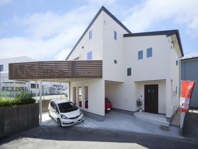 片流れの大屋根のシンプルデザイン (無垢材と珪藻土の湘南スタイルの家)