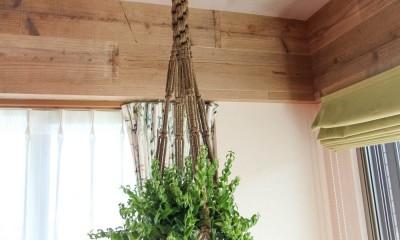 赤い床の山小屋ハウス (植物を吊るすアイアンバー)