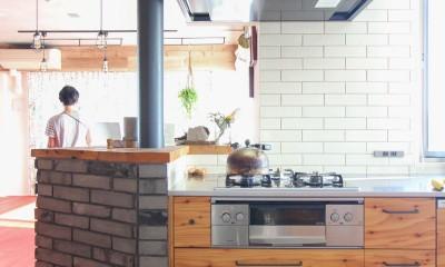 赤い床の山小屋ハウス (タイルとラーチ合板扉のキッチン)
