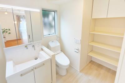 1F洗面、脱衣、トイレが1室の西洋スタイル (デザイナーズ企画仕様:オランダの家)