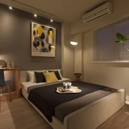 MODEL ROOM アクセントクロスを用いたリビングと寝室 (寝室)