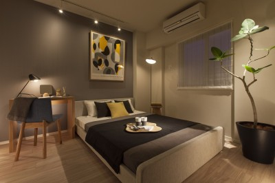 寝室 (MODEL ROOM アクセントクロスを用いたリビングと寝室)