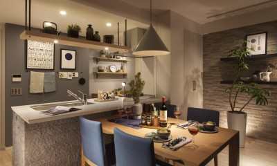 MODEL ROOM アクセントクロスを用いたリビングと寝室 (ダイニングキッチン)