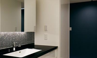 夜景を見渡せるホテルライクな自宅兼オフィス (黒タイルが目を引く洗面室)