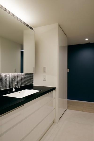 黒タイルが目を引く洗面室 (夜景を見渡せるホテルライクな自宅兼オフィス)