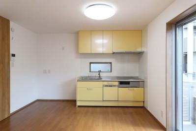 斬新なアイデアいっぱいの家。とことん色にこだわりました。 (キッチン)