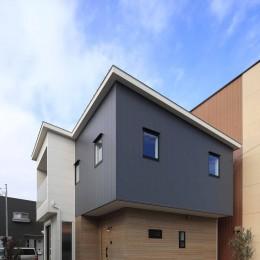 エアコン1台で家じゅう快適。デザイン性の高い高気密・高断熱の家。 (外観)