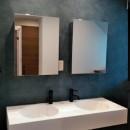 インダストリアルテイストをアクセントとして盛り込んだフルリノベーションの写真 ダブルボウルの洗面台