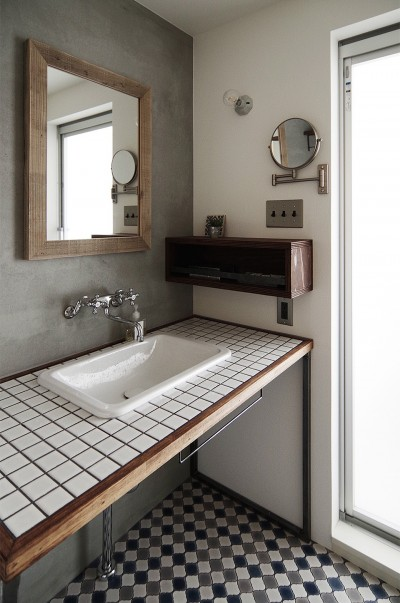 タイルの洗面台 (混ぜるほどに味が出る暮らし。愛知県安城市・マンションリノベーションK様邸)