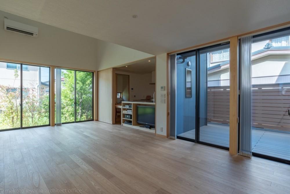 円光寺の家|内部と外部が繋がるミニマルな住宅 (リビング)