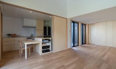 円光寺の家|内部と外部が繋がるミニマルな住宅 (リビングからキッチン・ダイニングを見る)