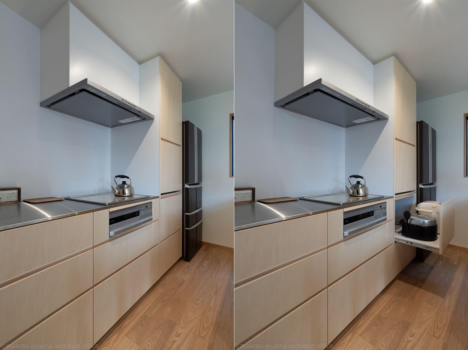 キッチン事例:キッチン(円光寺の家|内部と外部が繋がるミニマルな住宅)